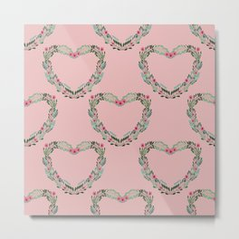 Heart Wreath Hand-painted in Green Ferns and Pink Blossoms on Pink Metal Print