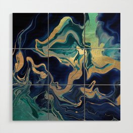 DRAMAQUEEN - GOLD INDIGO MARBLE Wood Wall Art