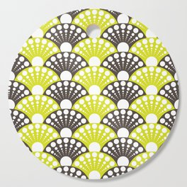 brown and lime art deco inspired fan pattern Cutting Board