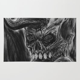 Charcoal Skull Of Death Rug