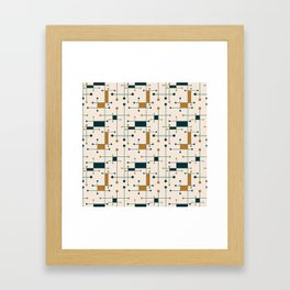 Intersecting Lines in Cream, Blue-Green and Orange Framed Art Print