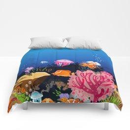 Beautiful Coral Reef Animals Comforters