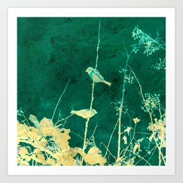 Yellow Birds on Vine Art Print