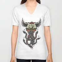 cthulu V-neck T-shirts featuring In To The Blue by Mark R. Skipper