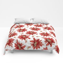 Red Christmas Cactus Flowers Floral Pattern Comforters
