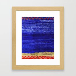V24 New Blue Calm Traditional Moroccan Carpet Texture. Framed Art Print
