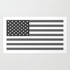 American flag in Gray scale Art Print