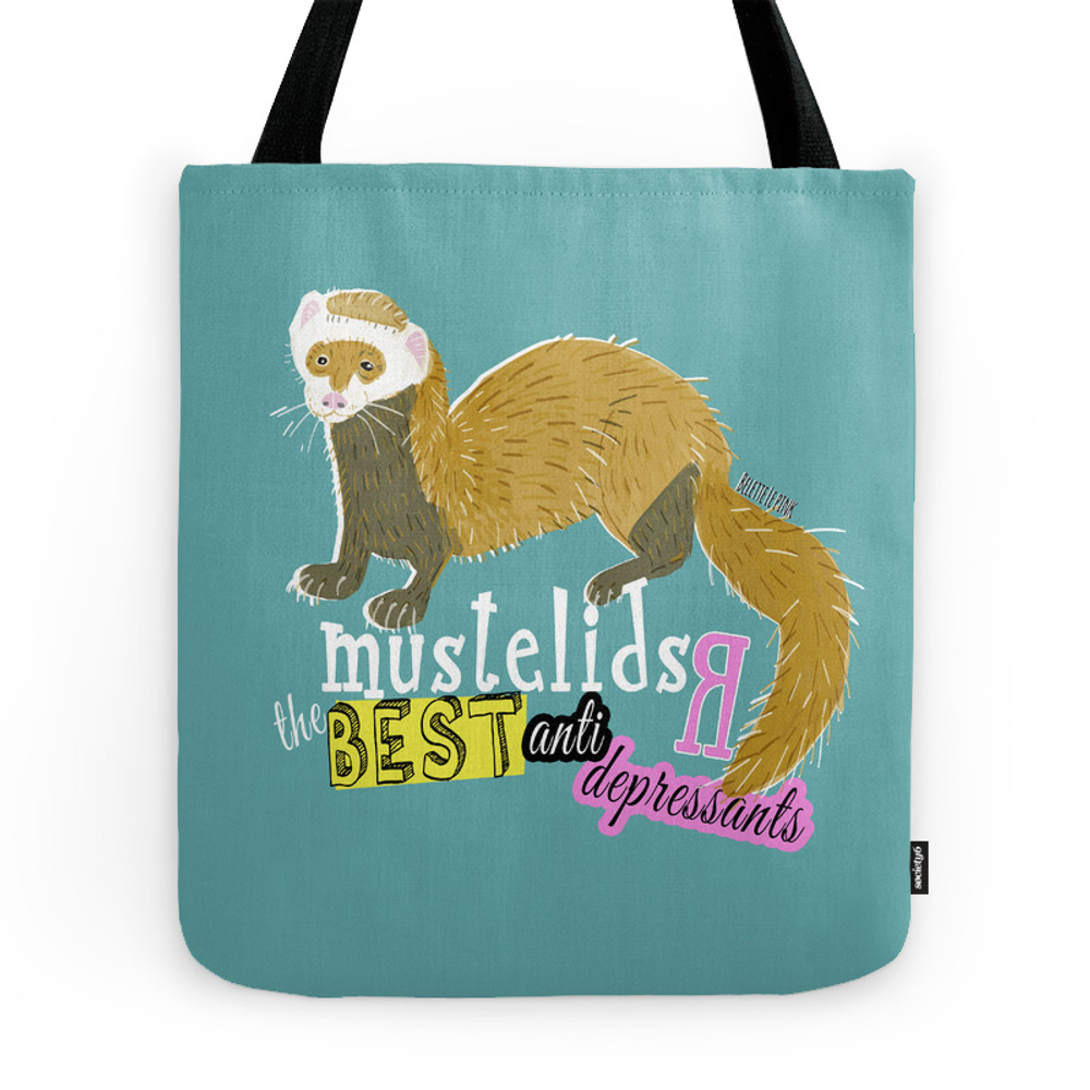 Mustelids Are The Best Antidepressants Tote Purse by natachapink (TBG7637190) photo