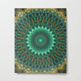 Mandala in green and golden tones Metal Print