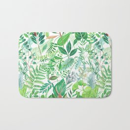 greenery watercolor pattern Bath Mat