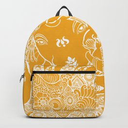 Ganesha Lineart Yellow White Backpack