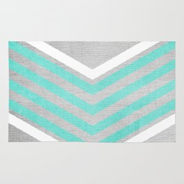 Teal and White Chevron on Silver Grey Wood Rug