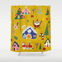 Santa Claus Yellow #Christmas #Holiday Shower Curtain