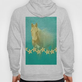 Golden ghost horse on teal Hoody