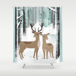 Winter Deer by Andrea Lauren  Shower Curtain