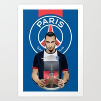 zlatan Art Prints featuring Football Stars: Zlatan Ibrahimovic by Akyanyme