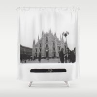 milan Shower Curtains featuring Milan in Black & White by FranArt
