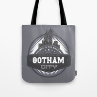 gotham Tote Bags featuring Gotham  by Boulinosaure