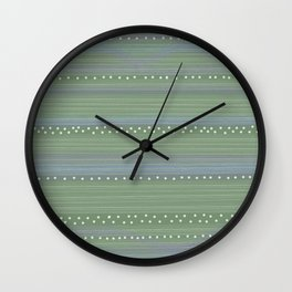 Green with Stripes and Dots Wall Clock