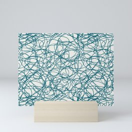 Tropical Dark Teal Abstract Thick Scribble Mosaic Pattern Inspired by Sherwin Williams 2020 Trending Color Oceanside SW6496 on Off White Mini Art Print