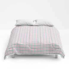 Gingham pink and forest green Comforters