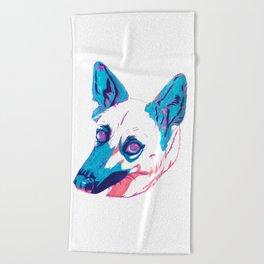 German Shepherd Husky Mix Beach Towel