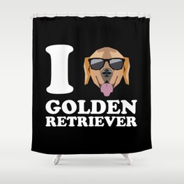 I Love Golden Retriever modern v2 Shower Curtain