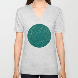 Elegant Confetti Space - Teal Green & Gold,Silver Unisex V-Neck