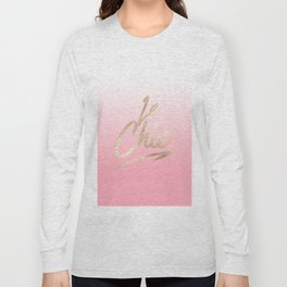Gold Le Chic French Quote Pink Gradient Long Sleeve T-shirt