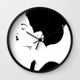 Woman in black & white Wall Clock