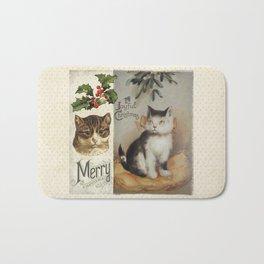 Merry Catmas vintage cat xmas illustration Bath Mat