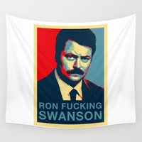 swanson Wall Tapestries featuring Ron F***ing Swanson by Søren Schrøder