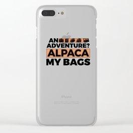 An Adventure Alpaca My Bags 5 Clear iPhone Case