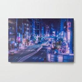 Shibuya night, purple and futuristic vibes Metal Print