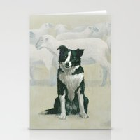 border collie Stationery Cards featuring border collie by phil art guy