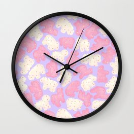 Frosted Animal Cookies on Lilac Wall Clock