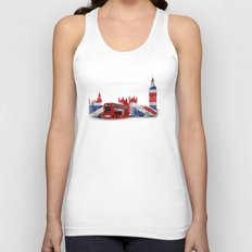 Red London Bus and Big Ben Unisex Tank Top
