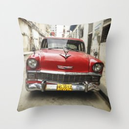 Vintage Red American Car on the Streets of Havana. Throw Pillow