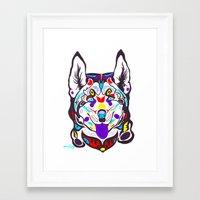 husky Framed Art Prints featuring Husky  by PastelxPalette