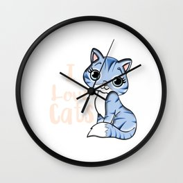 I love cats Wall Clock