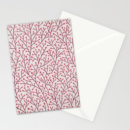 Pink Berry Branches Stationery Cards