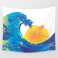 hokusai Wall Tapestries featuring Hokusai Rainbow & Hibiscus_Y  by FACTORIE