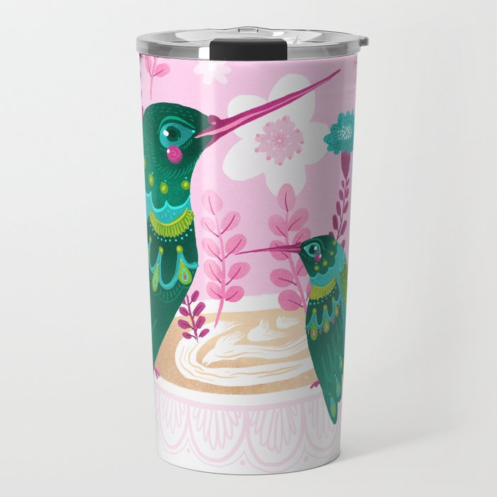 Hummingbirds on Teacup Travel Mug