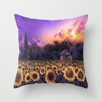 sunflowers Throw Pillows featuring sunflowers by Bekim ART