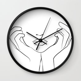 Thinking of Him .Hands On Face, Lips Print, Black And White, Minimalist Woman Print, Wall Clock