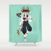 ganesha Shower Curtains featuring Ganesha by Yoke Tan