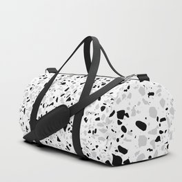 Black White and Grey Speckles Terrazzo Monochrome Dots Patter Duffle Bag