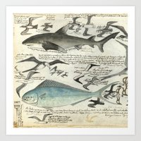 notebook Art Prints featuring Sealife Notebook by Common Design