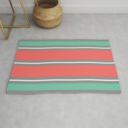 Minimal Abstract Lucite green, Coral, Grey, Honey, and White 01 Rug