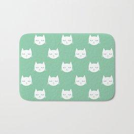 Cat minimal illustration pet cats head drawing digital pattern mint and white nursery art Bath Mat